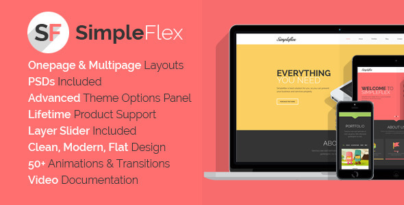 SimpleFlex – Flat One Page WordPress Theme
