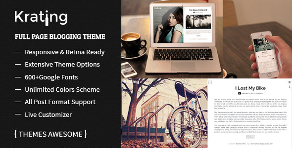 Krating – Full Page Blogging Themes