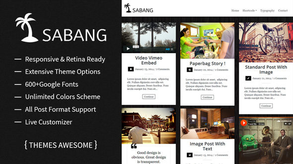 Sabang – Grid Blog WordPress Theme