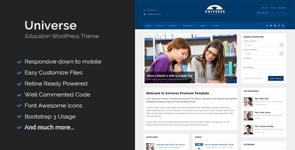 Universe – Education Responsive WordPress Theme