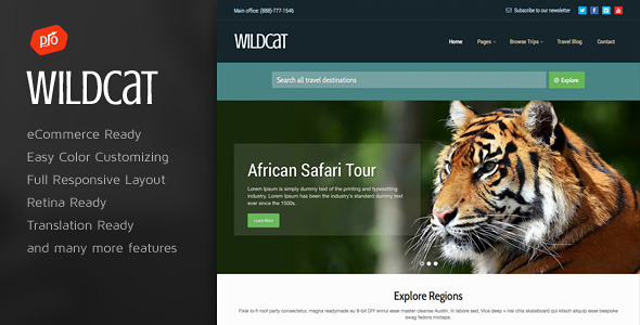 Wildcat – Travel & Booking WordPress Theme