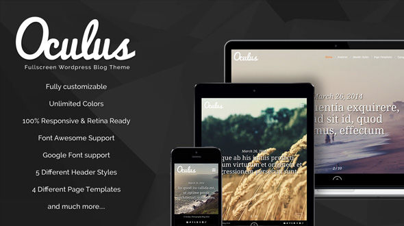 Oculus – Fullscreen Responsive WordPress Blog