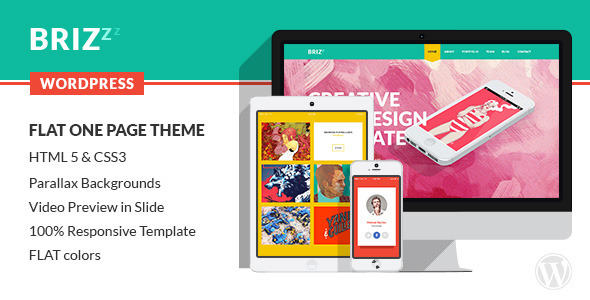 BRIZZZ – Flat One Page WordPress Theme
