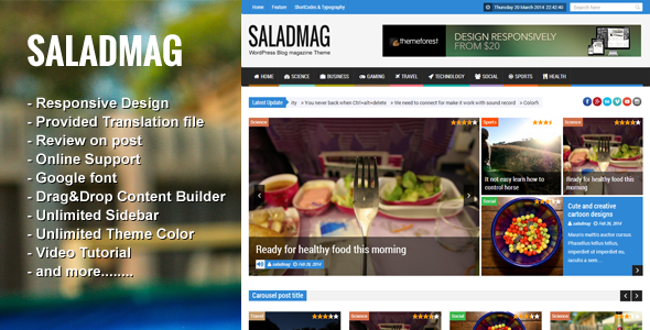 SaladMag – Responsive WordPress Magazine Theme