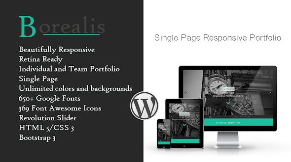 Borealis – Single Page Responsive Portfolio
