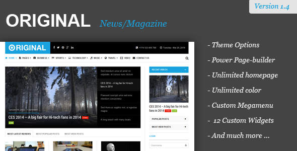 Original – Responsive Magazine WordPress Theme