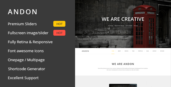 Andon – Responsive Onepage WordPress Theme