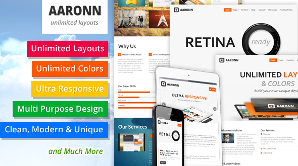 AaRonn – Multi Purpose Responsive WordPress Theme