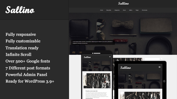 Sallino – Responsive Blog & Gallery WordPress Theme
