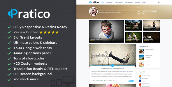 Pratico – Retina Responsive WordPress Blog Theme