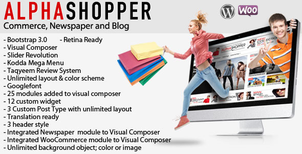 Alphashopper – Clean Newspaper and WooCommerce WP