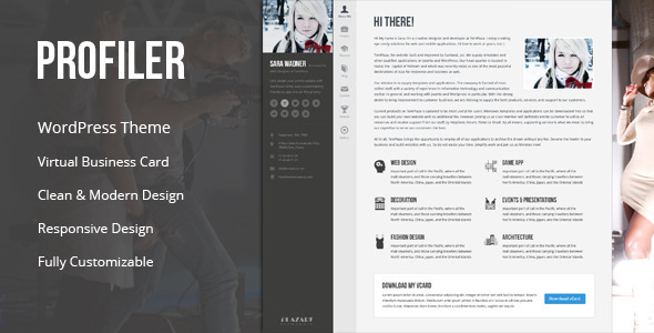 Profiler – vCard Resume WordPress Theme