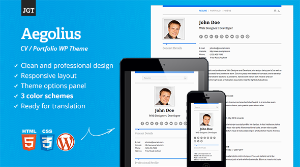 Aegolius – Responsive CV / Resume / Portfolio WordPress Theme