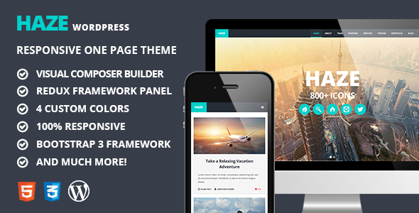 Haze – One Page Retina WordPress Theme