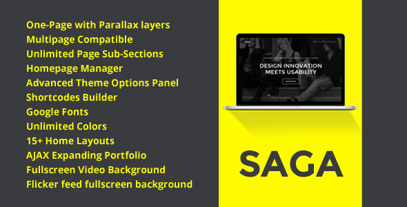 SAGA – WordPress One Page Responsive Portfolio