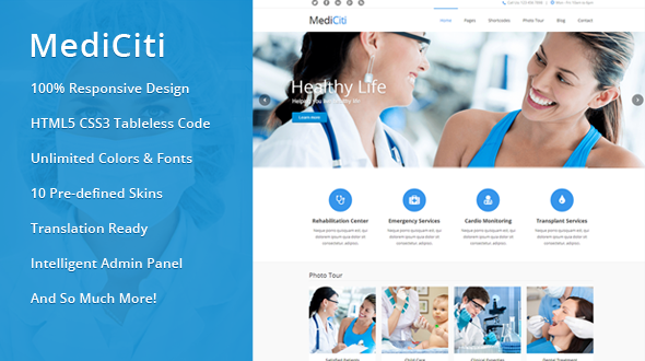 MediCiti – Responsive Medical WordPress Theme
