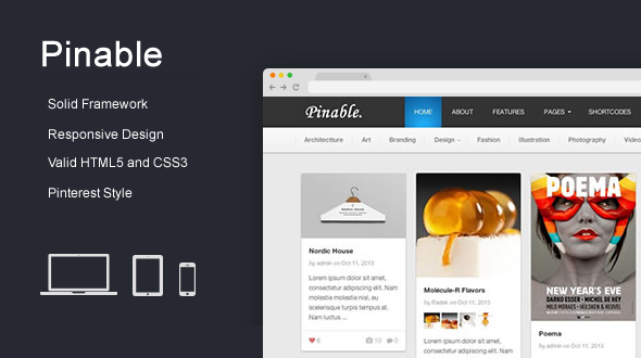 Pinable – Responsive Pinterest-Like WordPress Theme