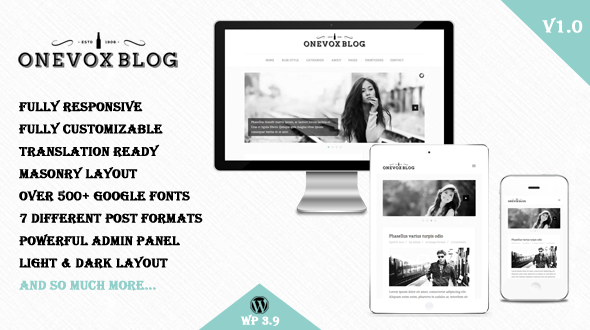 Onevox – Responsive WordPress Theme for Blog
