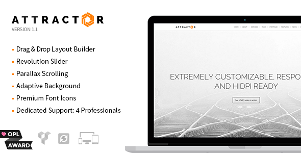 Attractor – Responsive One Page Parallax Theme