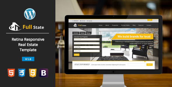Full state – Real Estate , Retina WordPress Theme
