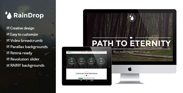 "RainDrop – A One and Multi Page ""Rainy"" Theme"