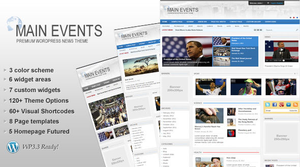 MainEvents WordPress News Theme