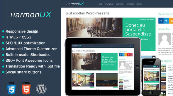 HarmonUX – Clean & Responsive UX-focused WordPress Theme