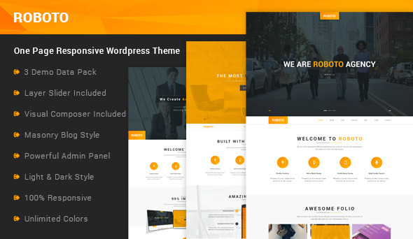 Roboto – One Page Responsive WordPress Theme