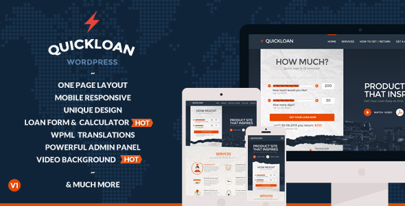 QuickLoan – Responsive WordPress One Page Theme