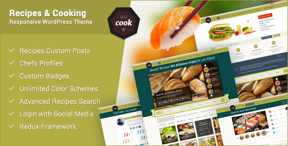 WPCook – Recipes and Cooking Responsive Theme