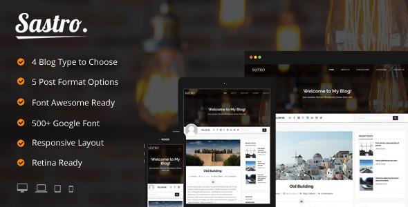Sastro – 4 Personal Blog Type WordPress Theme