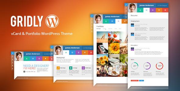 Gridly Personal vCard & Portfolio WordPress