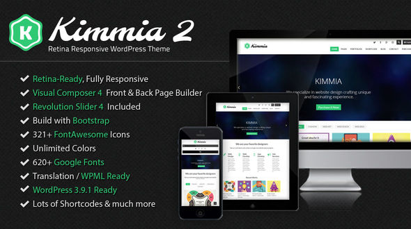 Kimmia 2.0 – Retina Responsive WordPress Theme