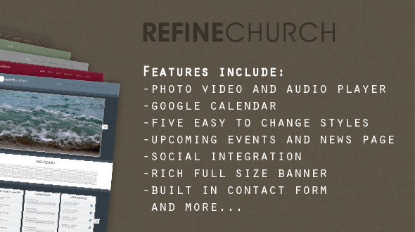 Refine Church WordPress Theme
