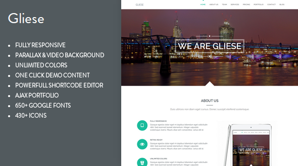 Gliese – One Page Parallax WordPress Theme