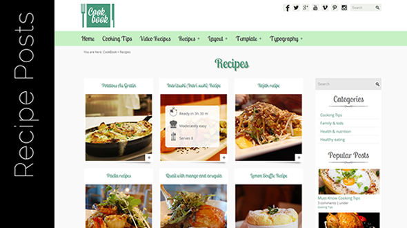 CookBook Recipe Food Blog WordPress Theme