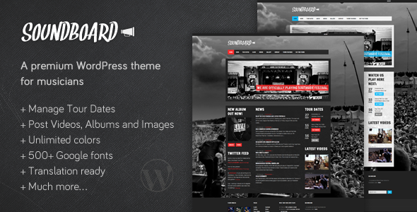 Soundboard – a Premium Music WordPress Theme