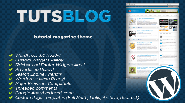 TutsBLOG WordPress Tutorial Magazine Theme