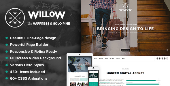 Willow – A One Page Multi-Purpose Theme