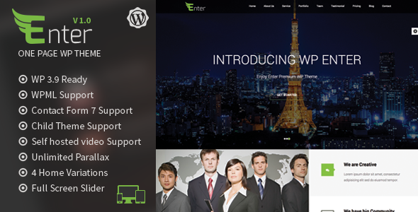 Enter – One Page Parallax WordPress Theme