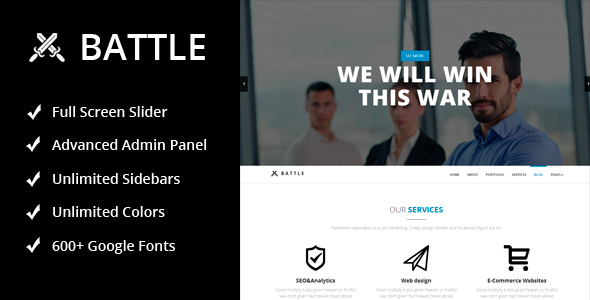 Battle – Responsive Multi-Purpose WordPress Theme