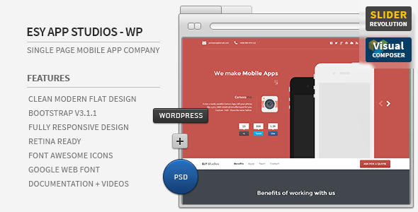 Esy App Responsive WordPress One Page Theme