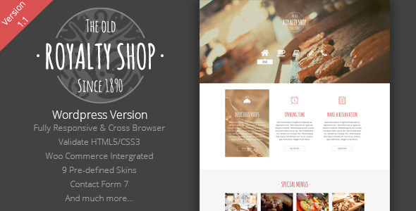 Royalty Shop – Restaurant WordPress Theme