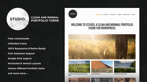 Studio – A Clean and Minimal Portfolio Theme for WordPress