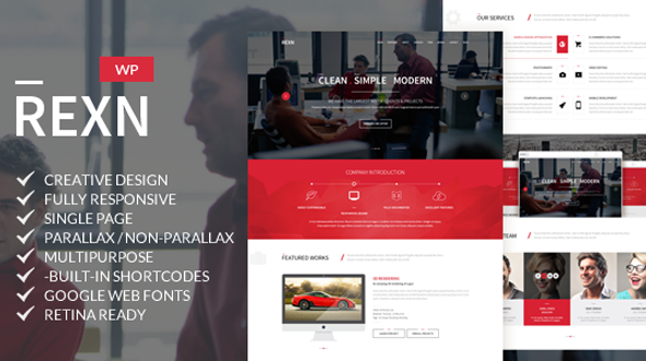 Rexn – Multipurpose Responsive One Page WordPress Theme