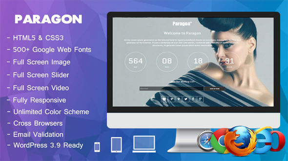 Paragon – A Responsive Full Screen Coming Soon WordPress Theme