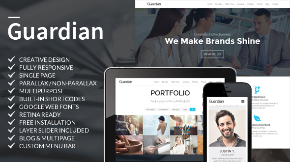 Guardian – Multipurpose Responsive One Page WordPress Theme