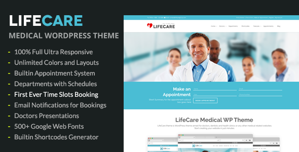 LifeCare – Responsive Medical WordPress Theme