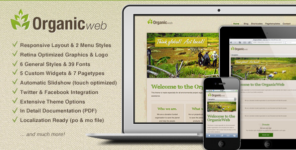 Organic Web – Environmental WordPress Theme