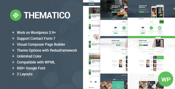 Thematico – One Page Creative WordPress Theme